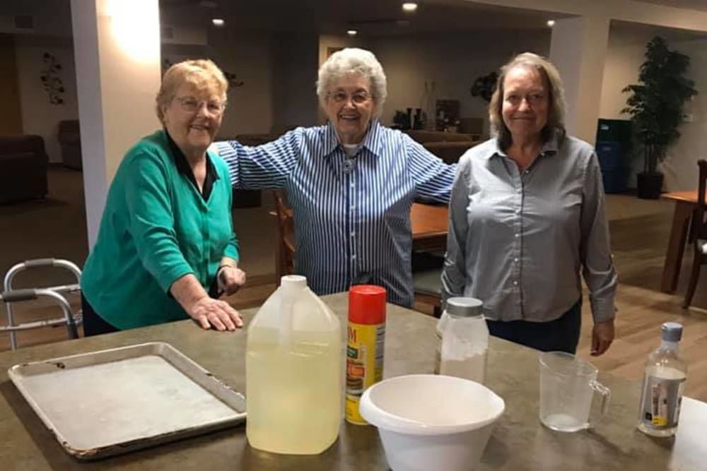 Residents setting up for baking class at Allouez Sunrise Village in Green Bay, Wisconsin