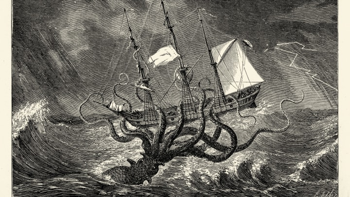An illustration of a kraken emerging from the sea to grab hold of a boat