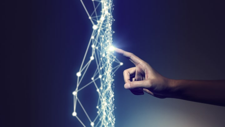 Abstract rendering of human hand and mesh network