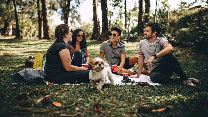 Resident friends on a picnic in a wooded area near Vistara at SanTan Village in Gilbert, Arizona