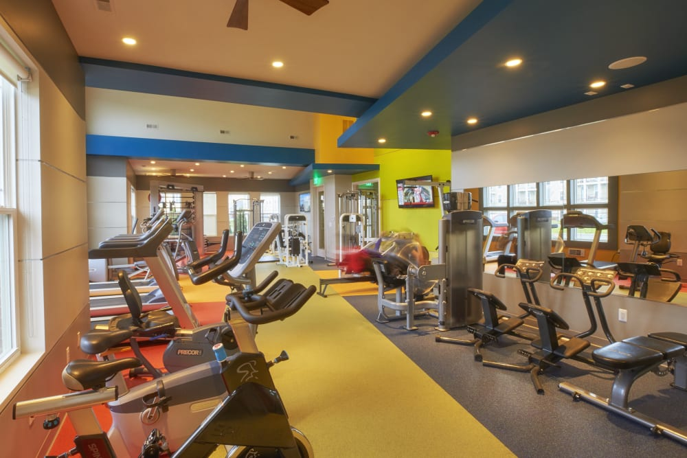 Fitness center for residents at Uptown in Canton in Canton, Michigan