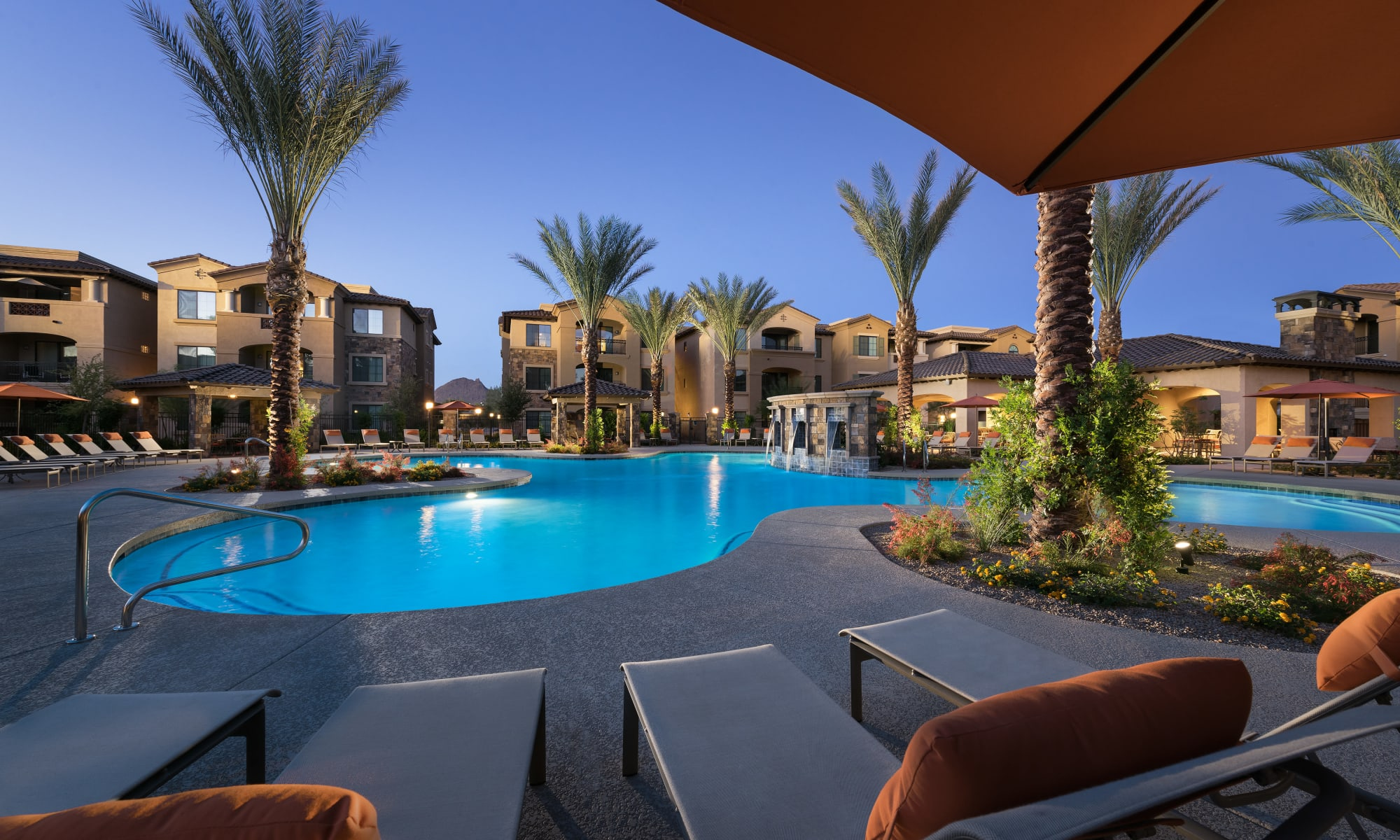 Apartments with a resort style swimming pool at San Norterra in Phoenix, Arizona