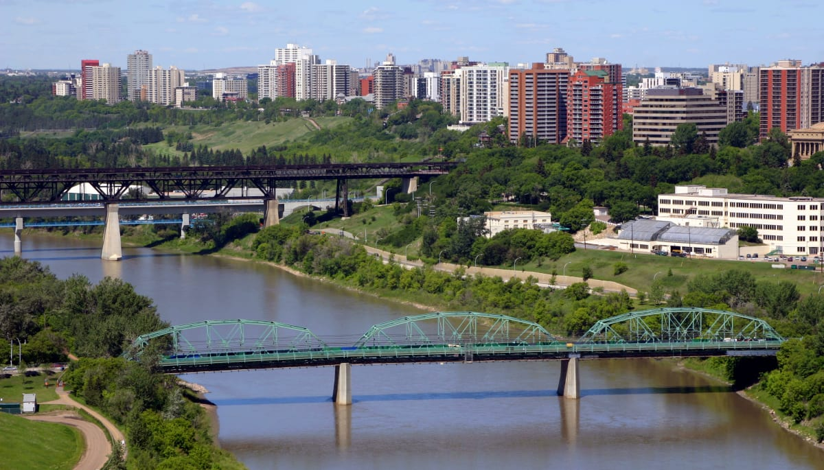 An aerial view of the city and bridges near Touchmark at Wedgewood in Edmonton, Alberta