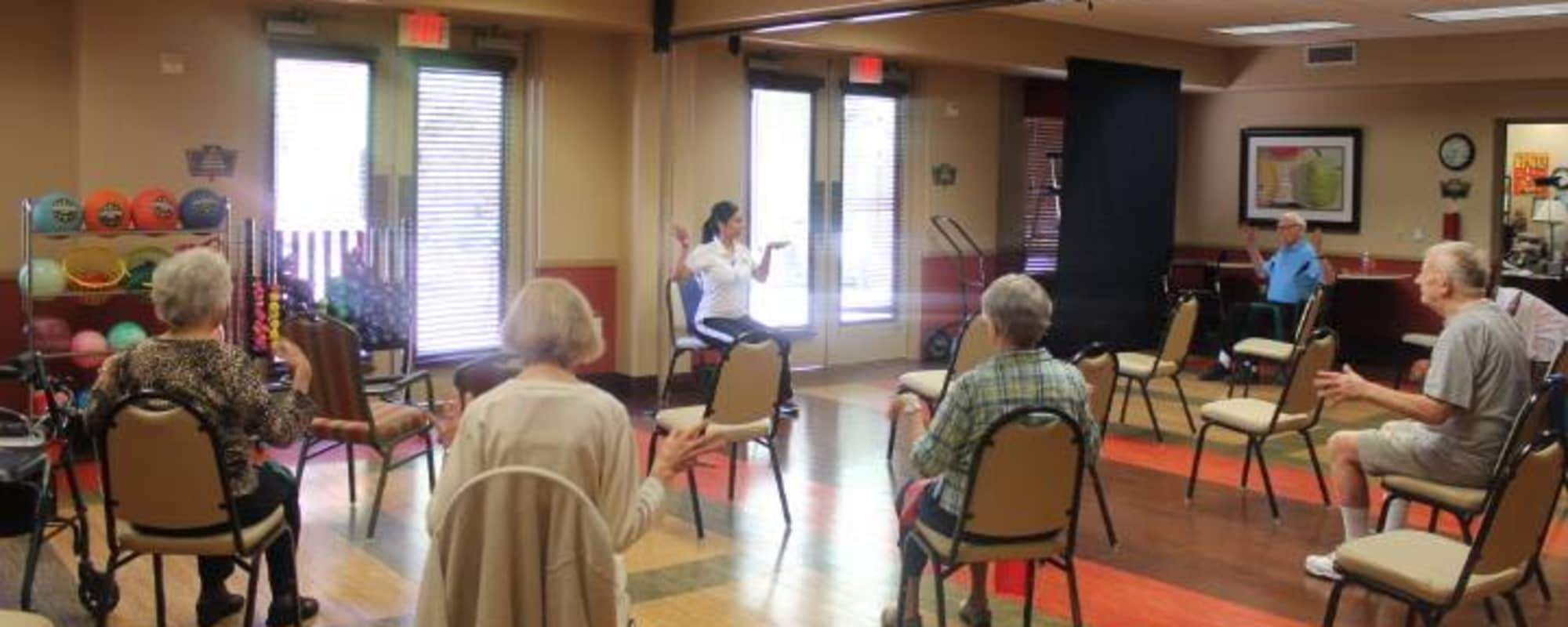 Seniors exercising at McDowell Village in Scottsdale, Arizona