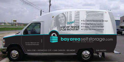 Moving truck at Bay Area Self Storage in San Mateo, California
