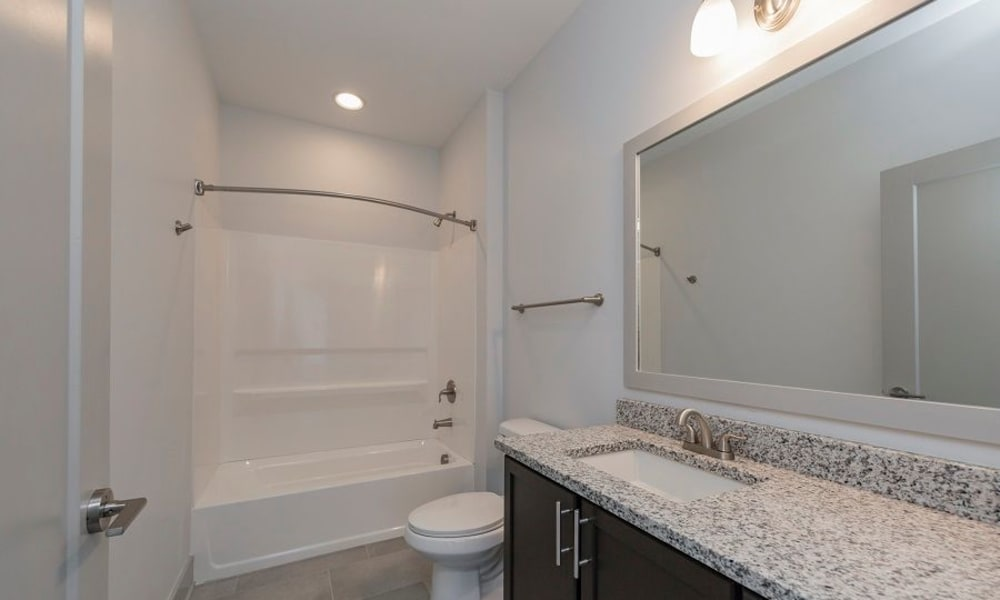 Bright bathroom at Heritage East in Nashville