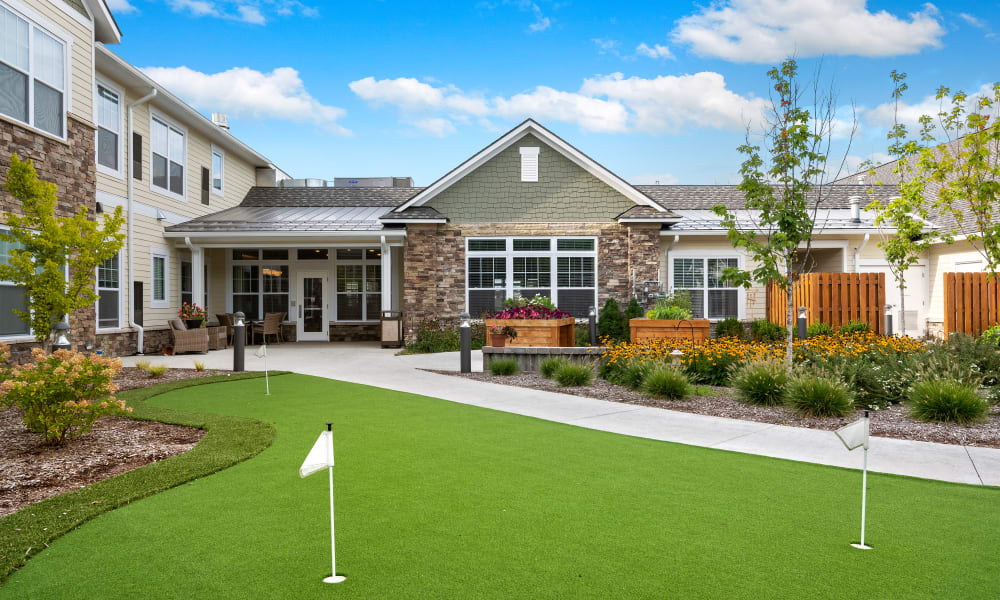 A putting green at Anthology of Troy in Troy, Michigan