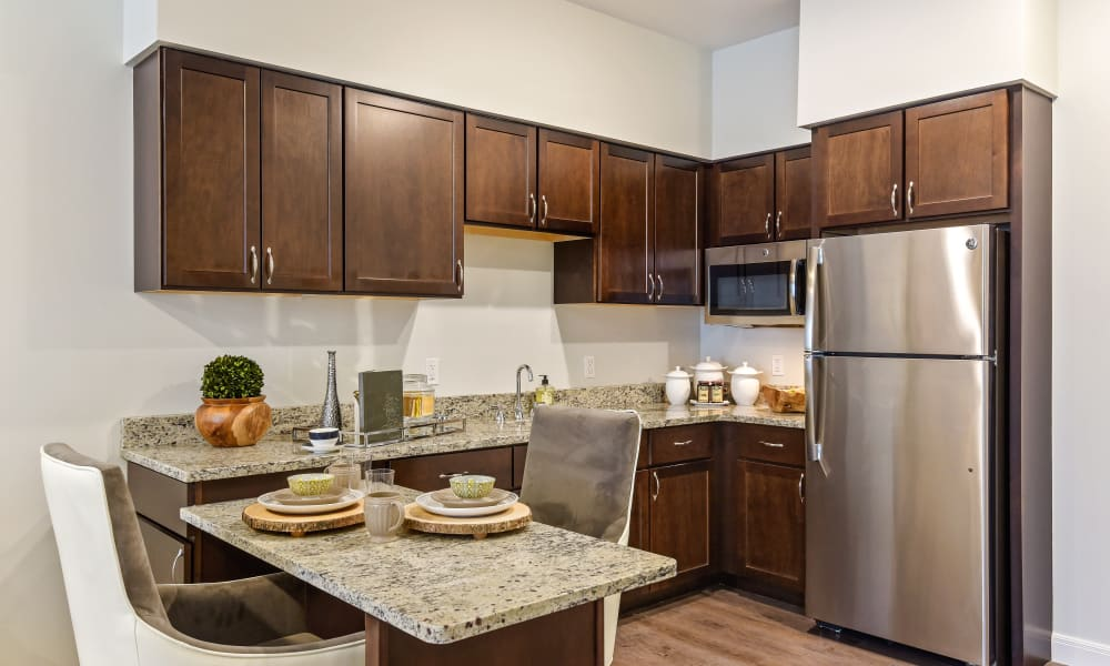 Stainless steel appliances in an apartment kitchen at Anthology of Troy in Troy, Michigan