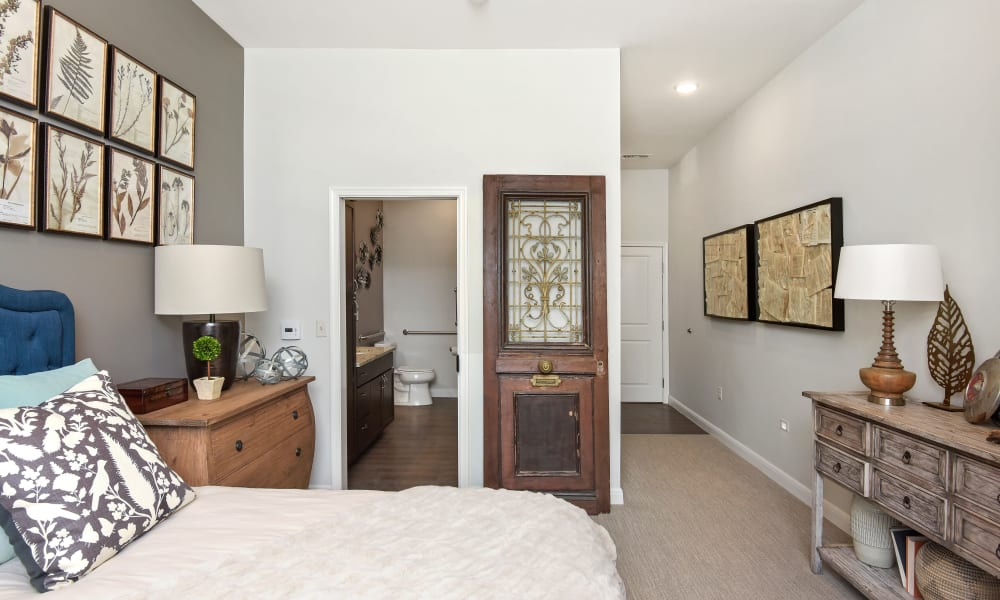 A furnished bedroom at Anthology of Troy in Troy, Michigan