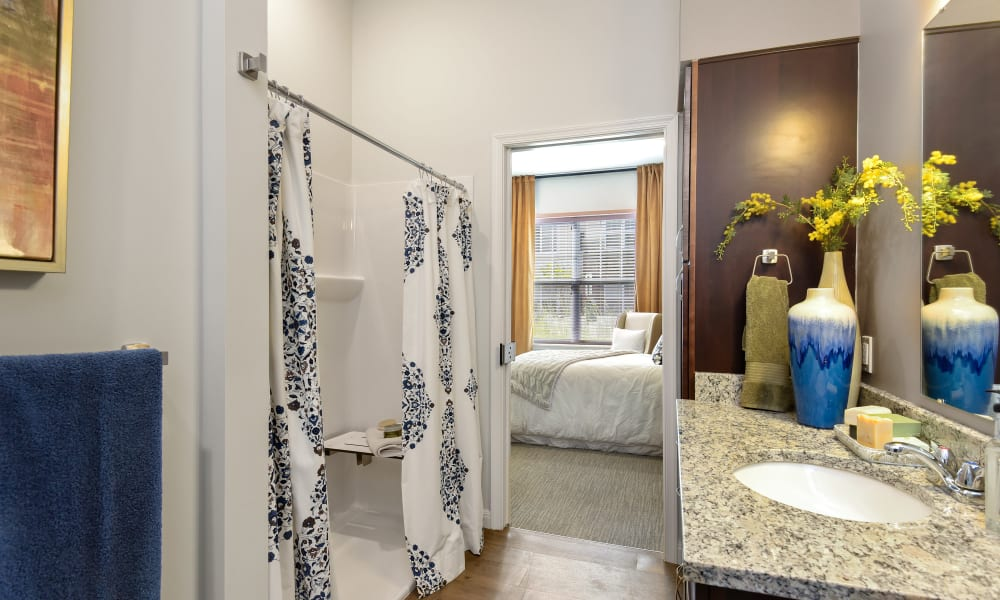 An apartment bathroom at Anthology of Troy in Troy, Michigan