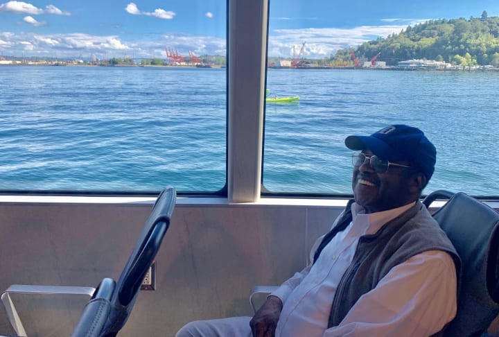 Resident enjoying the West Seattle Water Taxi ride