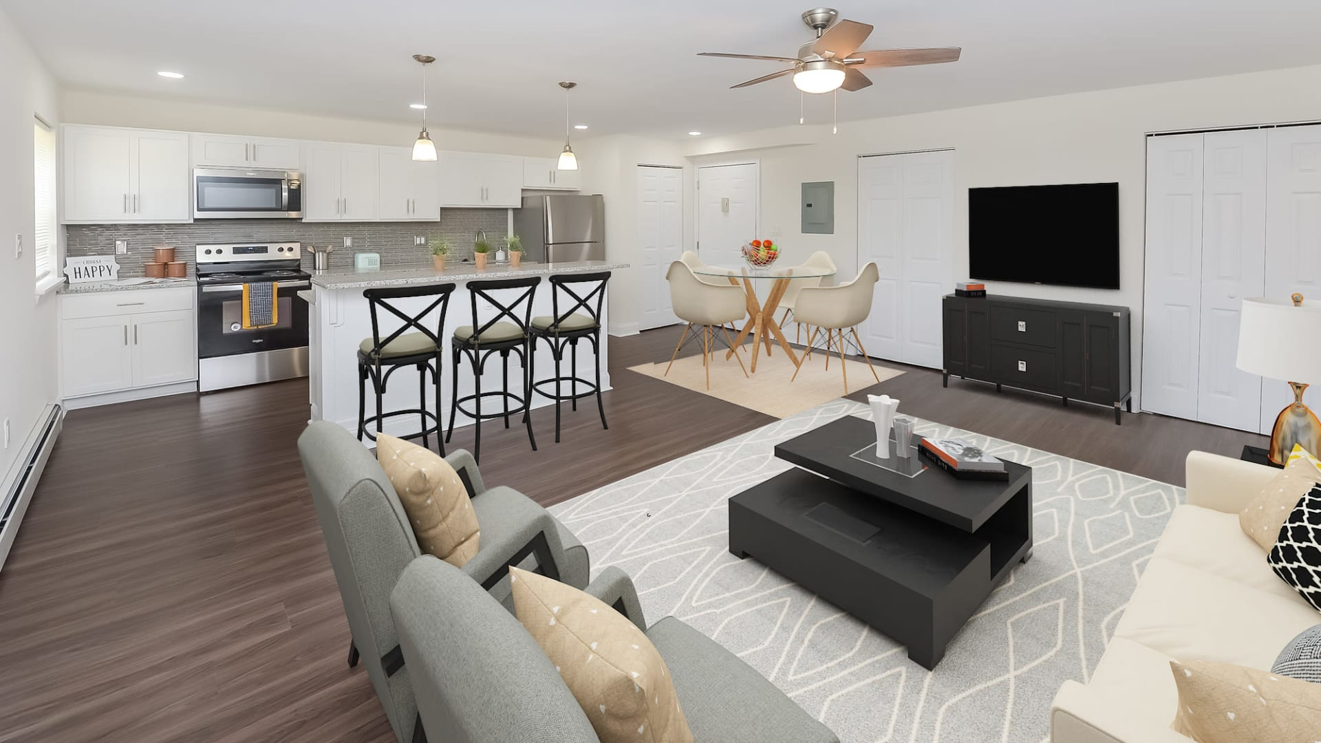 Kitchen & Living Room at Kingswood Apartments & Townhomes in King of Prussia, Pennsylvania