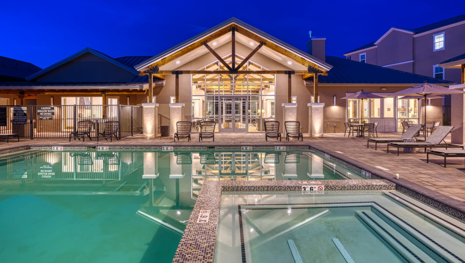 Exterior view of our luxury swimming pool at Olympus Rodeo in Santa Fe, New Mexico