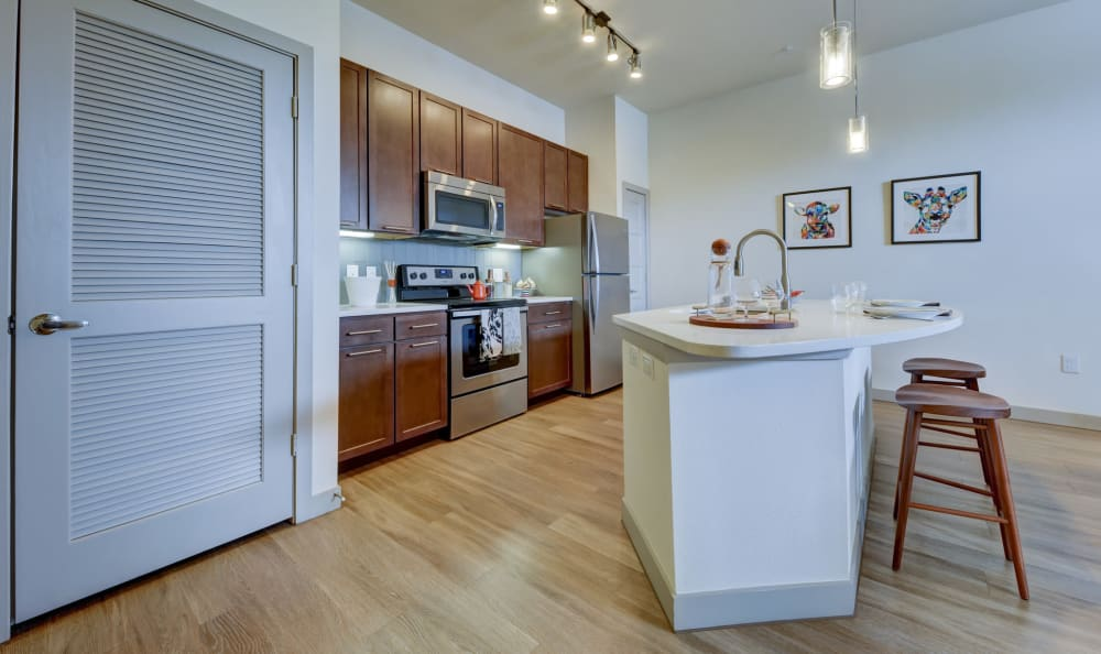 Gourmet kitchen with stainless-steel appliances and granite countertops in a model home at Agave in San Antonio, Texas