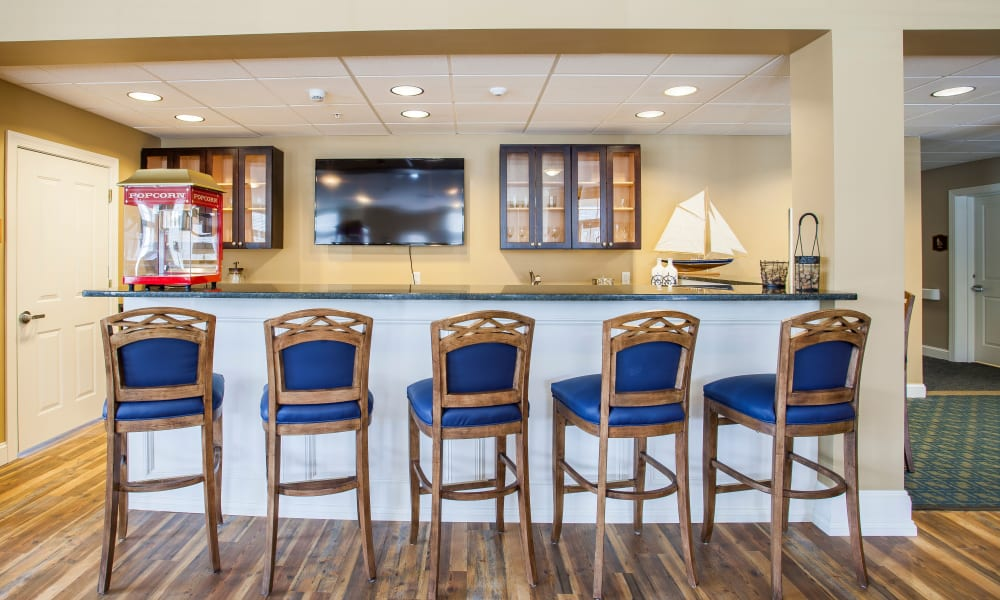 Bar seating at Keystone Place at  Buzzards Bay in Buzzards Bay, Massachusetts