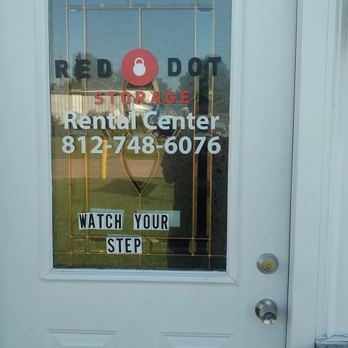 Entrance to the rental center at Red Dot Storage in Evansville, Indiana
