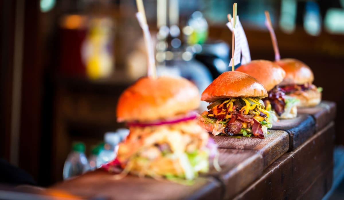Gourmet burgers on the bar at a locals' favorite restaurant near Villa Vicente in Los Angeles, California