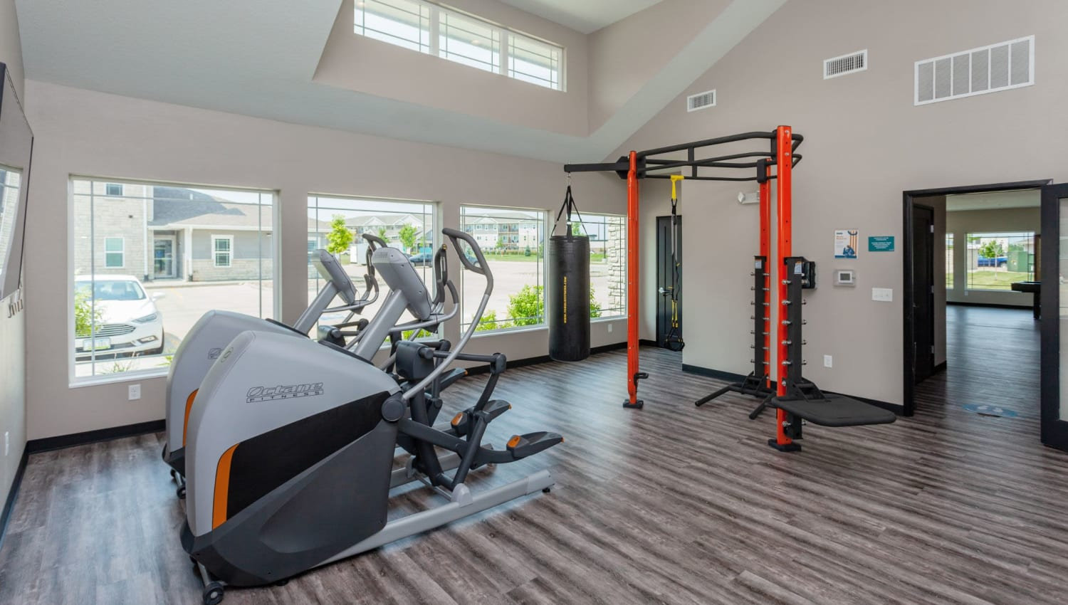 Residents working out in Autumn Ridge's fitness center in Waukee, Iowa
