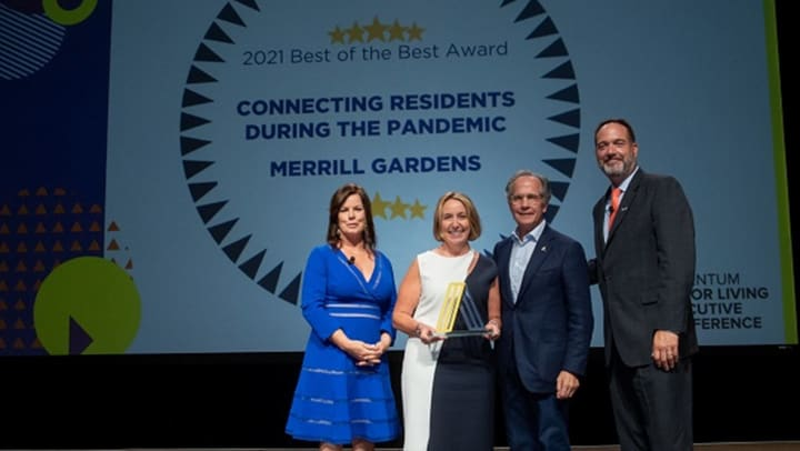 Merrill President Tana Gall accepts the 2021 Best of the Best award! Left to right: Actress Marcia Gay Harden, Merrill President Tana Gall, Argentum Board Chairman Pat Malloy, and Argentum President/CEO James Balda