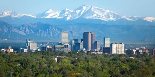 The Denver skyline, near Elevate in Englewood, Colorado