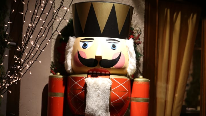 Large nutcracker in a decorated room