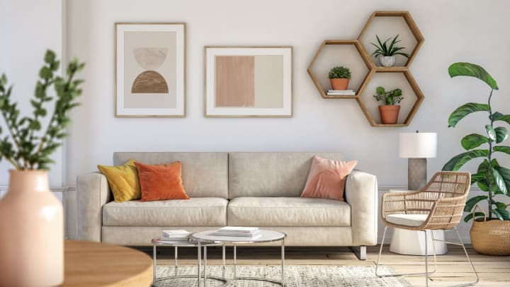 A modern boho living room interior with beige furniture and wooden elements.