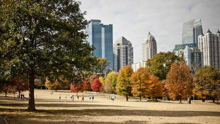 The Atlanta skyline viewed from Piedmont Park in fall.