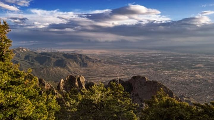 Gorgeous view from the Sandia Peak Tramway in a blog article on our website at Olympus Northpoint in Albuquerque, New Mexico