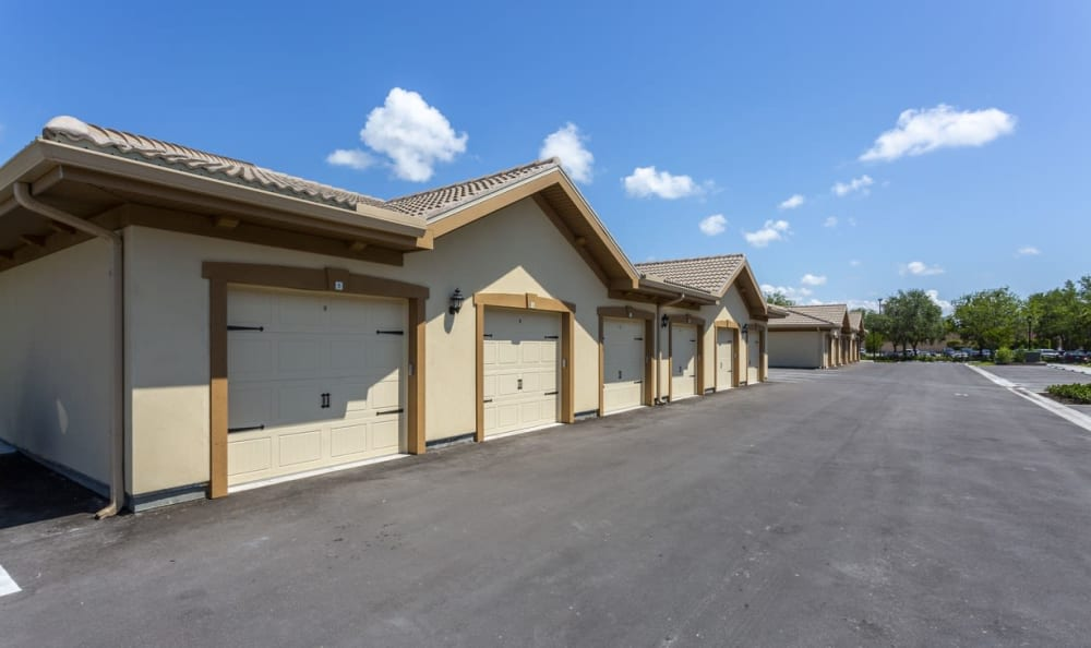Detached garages at Springs at Gulf Coast in Estero, FL
