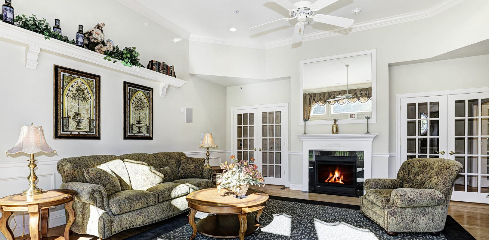 Fireplace in the clubhouse lounge at Hanover Glen in Bethlehem, Pennsylvania