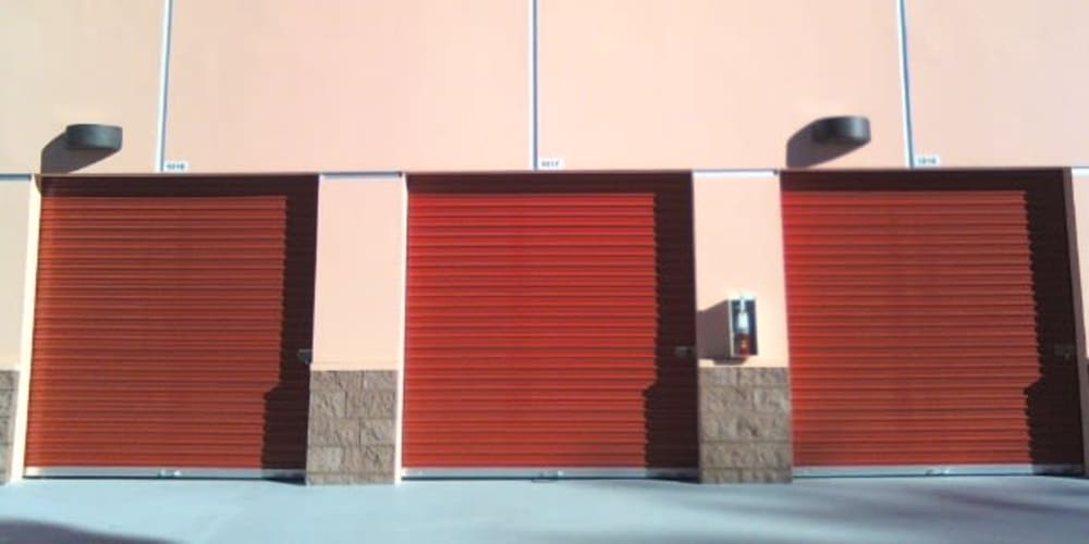 Red bay doors on exterior units are very convenient at 101 Storage in Valley Village, California