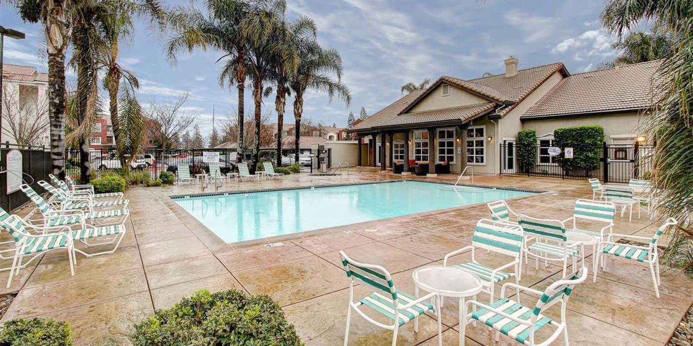 Beautiful swimming pool area at Eaglewood Apartments in Woodland, California