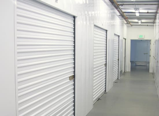 Clean hallways through self storage units at A-1 Self Storage in North Hollywood, California