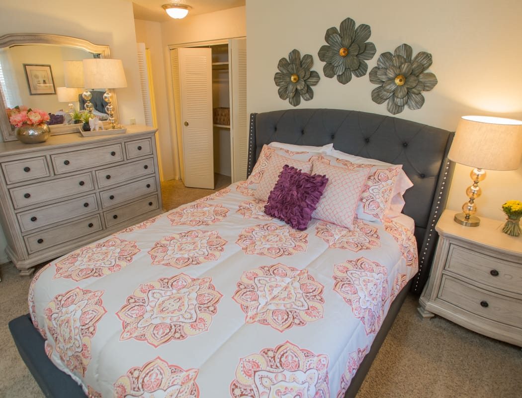 Stylish bedroom in model home at Chardonnay in Tulsa, Oklahoma