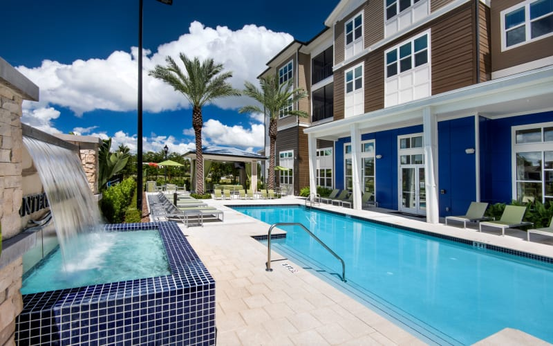 Resort-style swimming pool at Integra Lakes in Casselberry, Florida