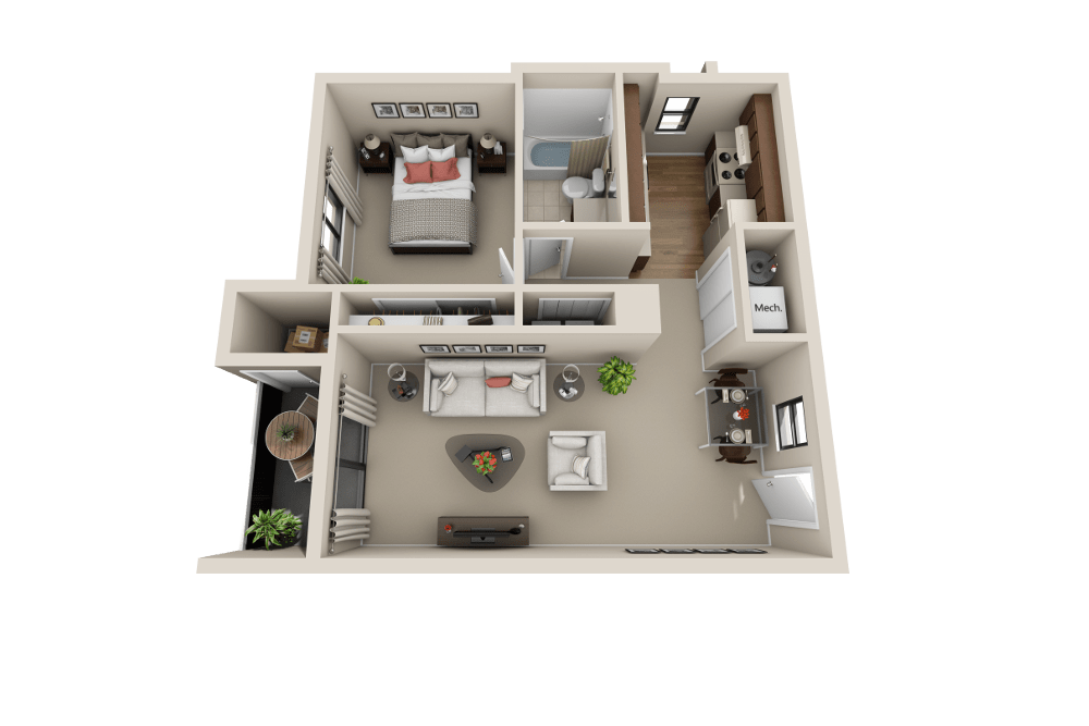 The A floor plan at Cherry Creek Apartments in Riverdale, UT