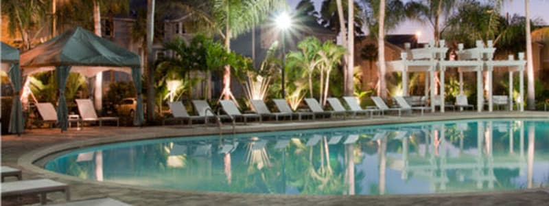 Poolside seating at Abaco Key in Orlando, Florida