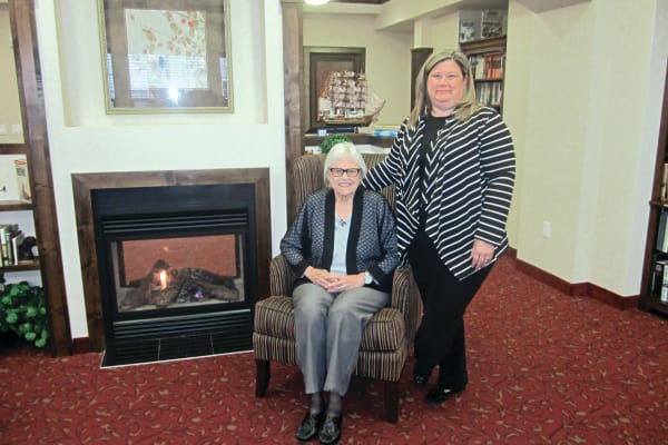 Susan Sepehri with her mother at Liberty Heights Gracious Retirement Living in Rockwall, Texas