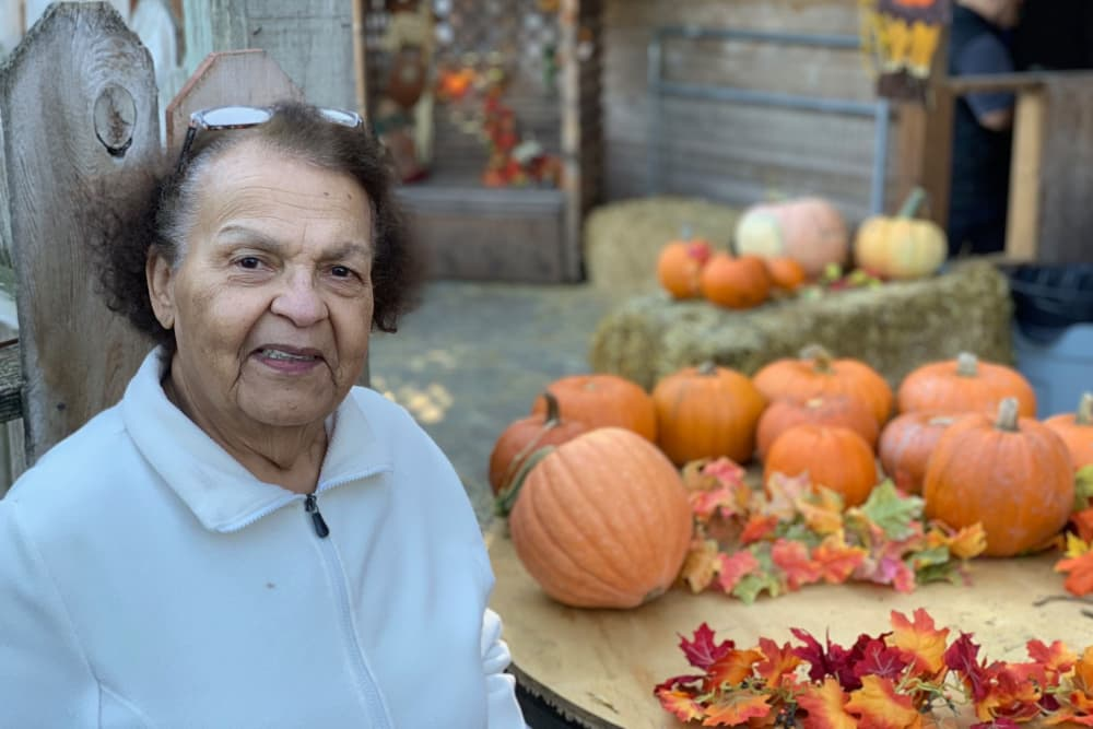 Residents smiling at the Pumpkin Patch in Seattle, WA