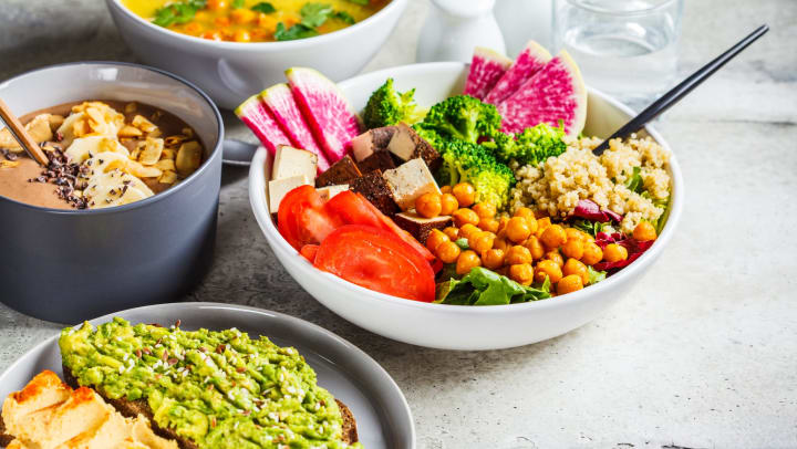 An assortment of vegan dishes including soups, a veggie and rice bowl, and avocado toast, sit on a grey counter.