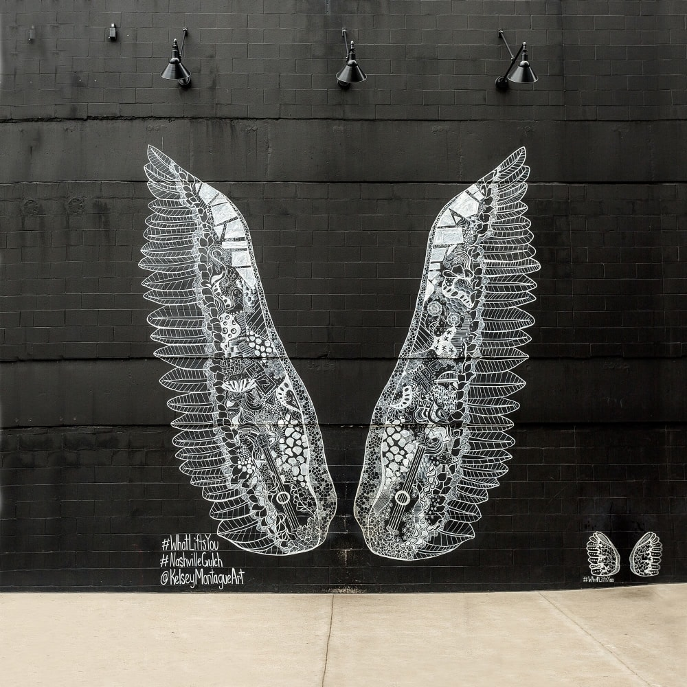 A mural of wings near 12 South Apartments in Nashville, Tennessee