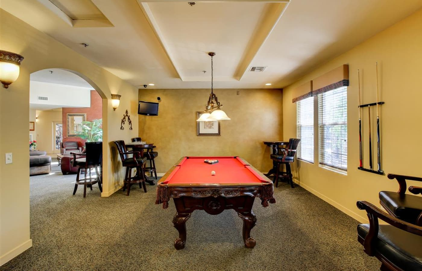 Billiards table in the clubhouse at Sterling Pointe in Flagstaff, AZ