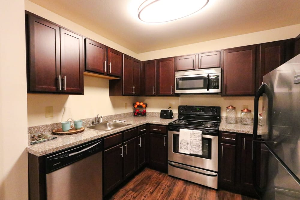 An apartment kitchen with stainless steel appliances at Harmony at Reynolds Mountain in Asheville, North Carolina