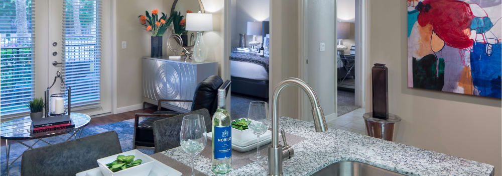 Open kitchen floor plans at Sommerall Station Apartments in Houston, Texas