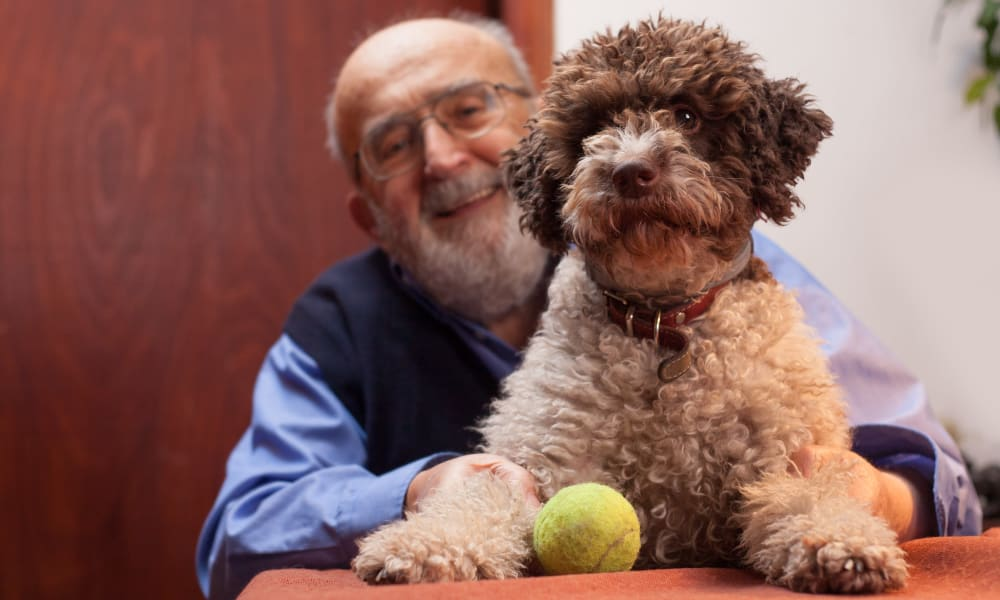 Resident with canine friend in pet-friendly apartment at Lassen House Senior Living in Red Bluff, California