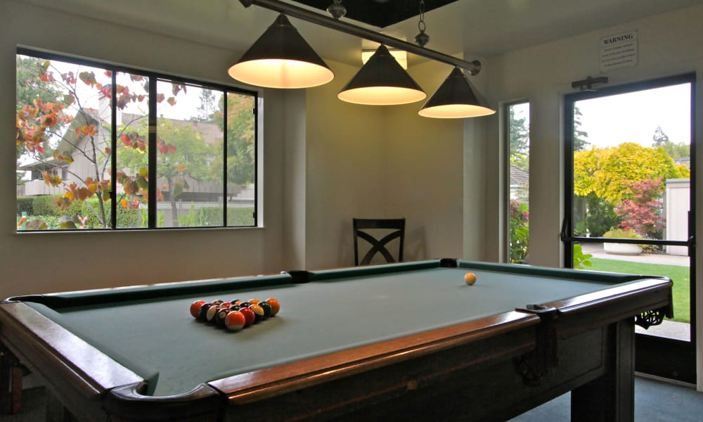 billiard tables at The Shadows Apartments