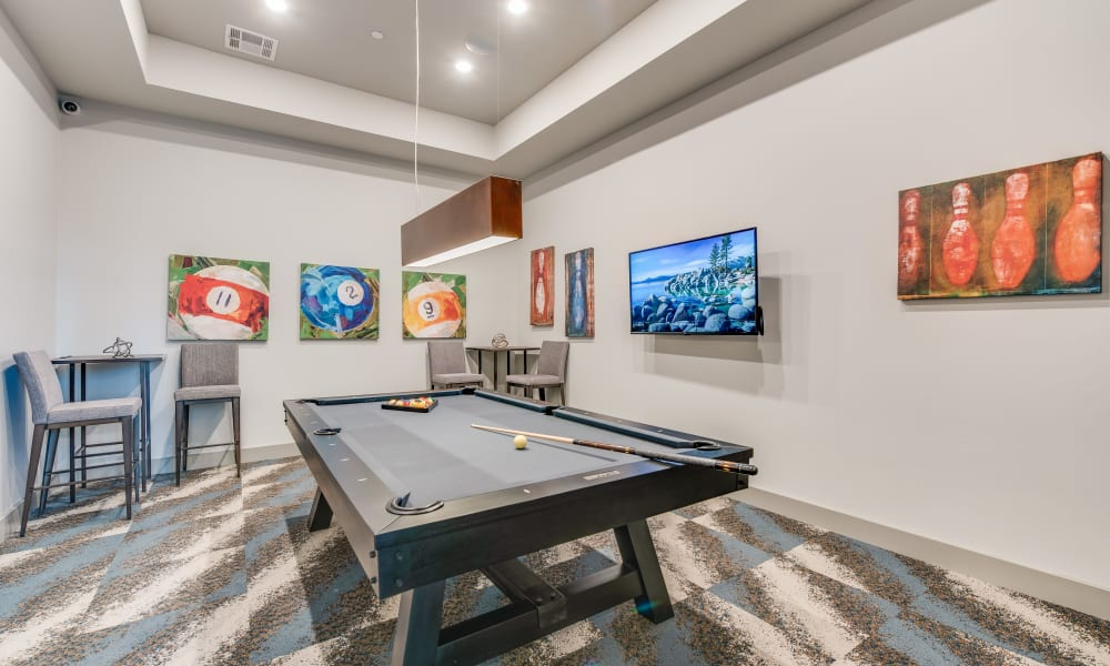 Pool table in the clubhouse at Bellrock Upper North in Haltom City, Texas