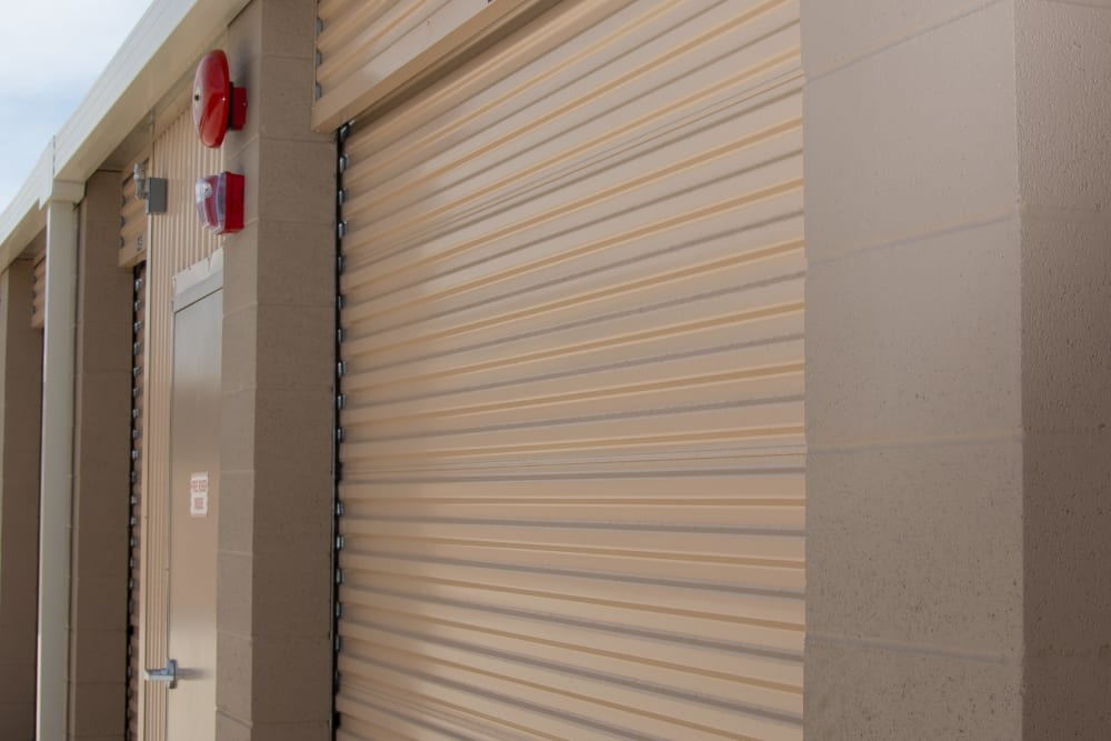 Outdoor storage units with roll up doors at Stanford Ranch Self Storage