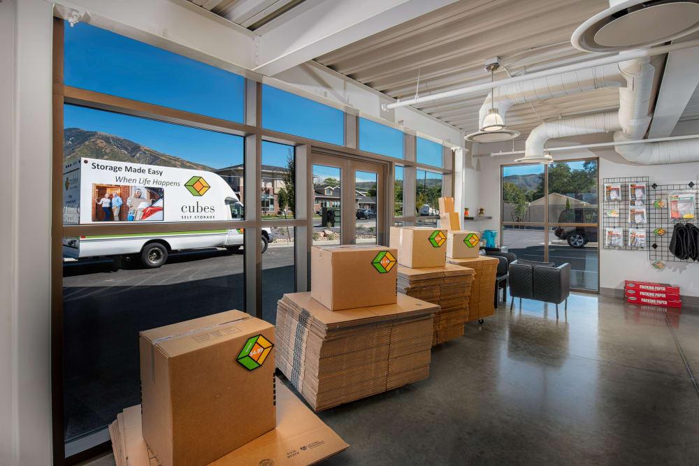 Inside the office at Cubes Self Storage in Draper, Utah