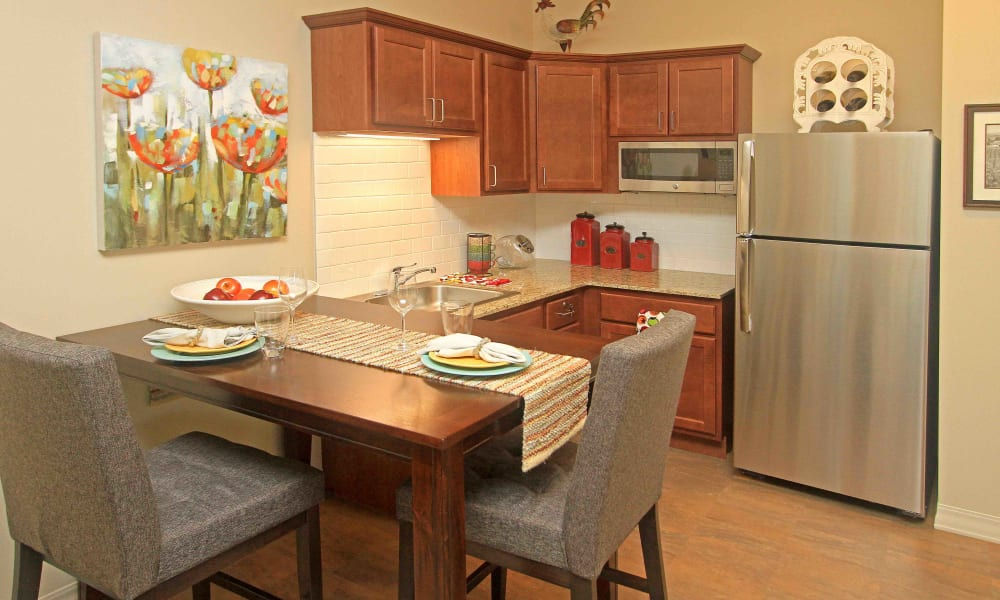 A kitchen with upgraded appliances at Anthology of Grayslake in Grayslake, Illinois
